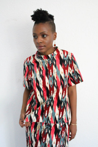 Livvin Printed Corduroy Top - Multi Red
