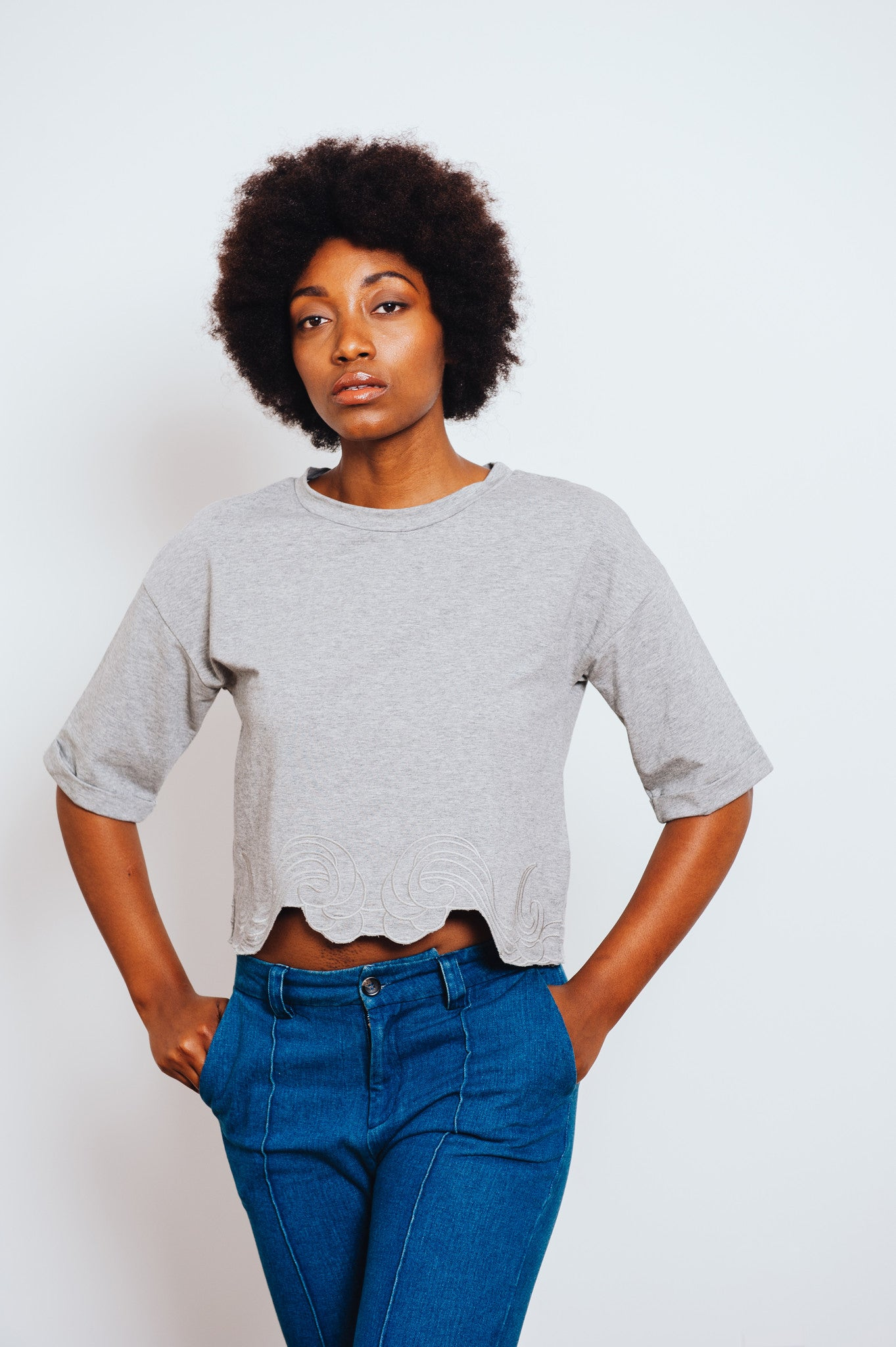 Shiver Grey Embroidered Top