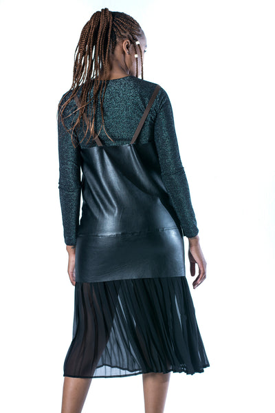 Trinity Maxi Leather Dress - Black