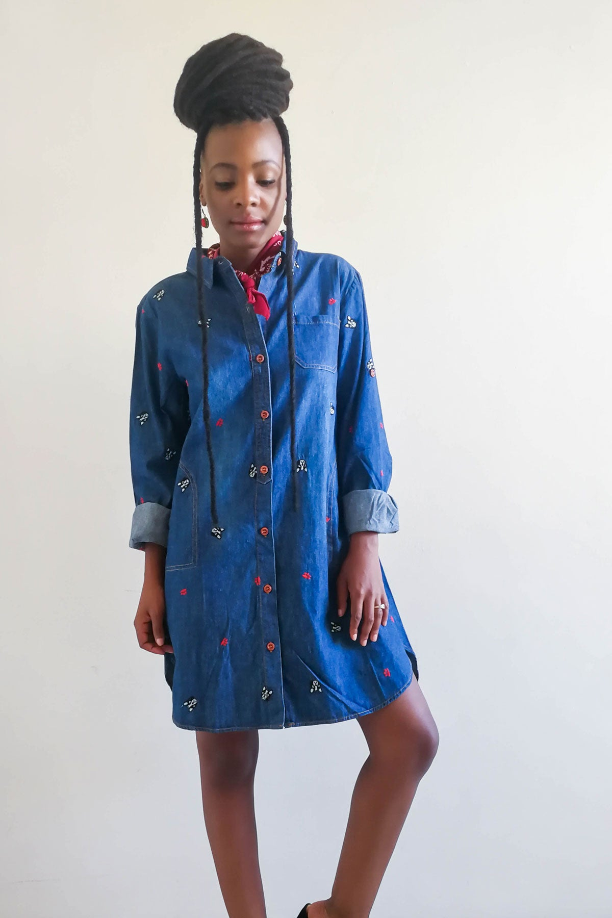 These Bones Denim Shirt Dress