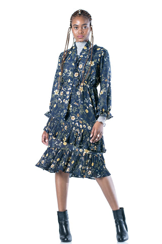 Emily Floral Ruffle Midi Dress
