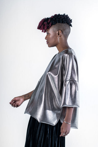 Chocolate Metallic Shirt - Silver