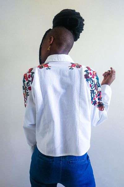 Fog Embroidered Cropped Shirt