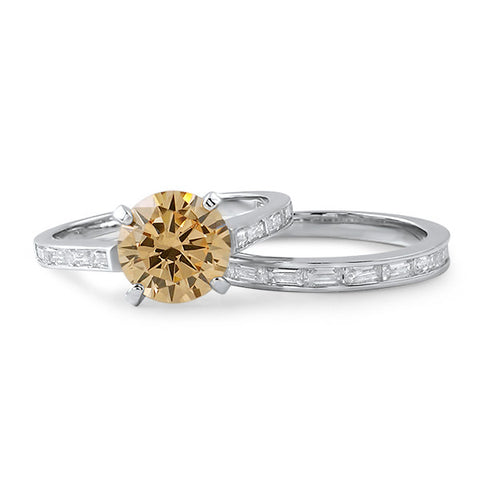 2.04 Carat Champagne Simulated Diamond Ring Set