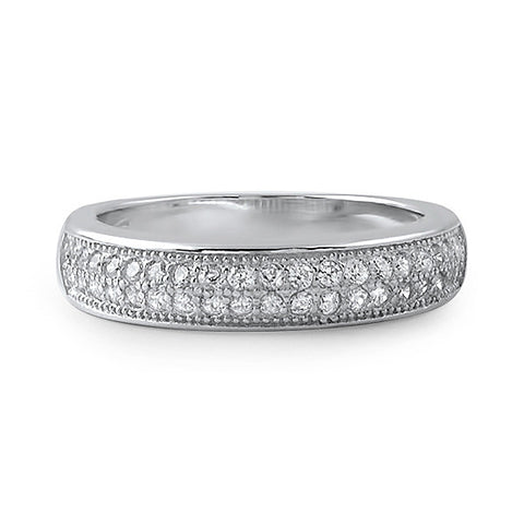 0.40 CTW Silver CZ 2 Row Micropave Wedding Band