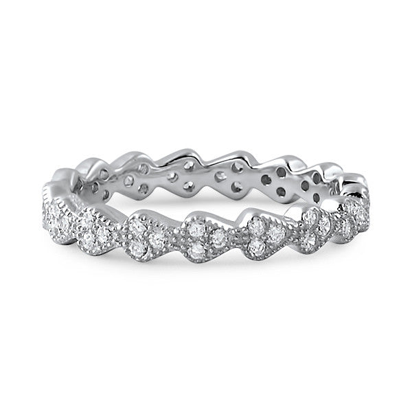 Hearts Forever Sterling Silver CZ Eternity Ring