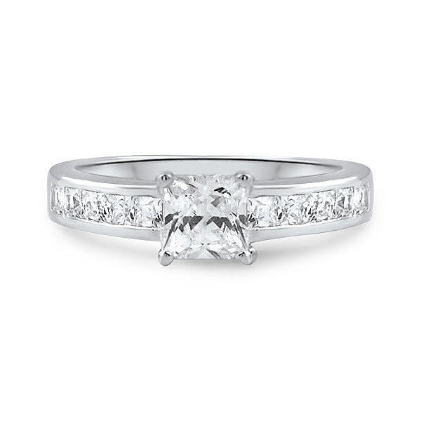 Princess Cut AAA CZ Silver Engagement Ring