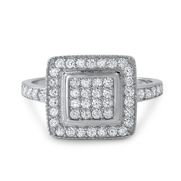 Sterling Silver Micropave Halo Cocktail Ring