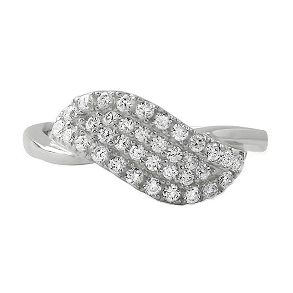 Sterling Silver Angel Wing CZ Fashion Ring