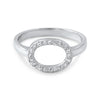 Sterling Silver Hollow Oval CZ Fashion Ring