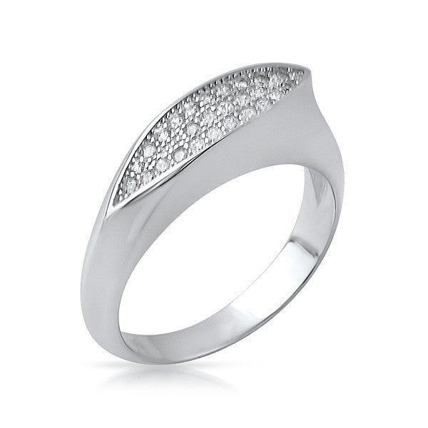 Sterling Silver Leaf CZ Fashion Ring