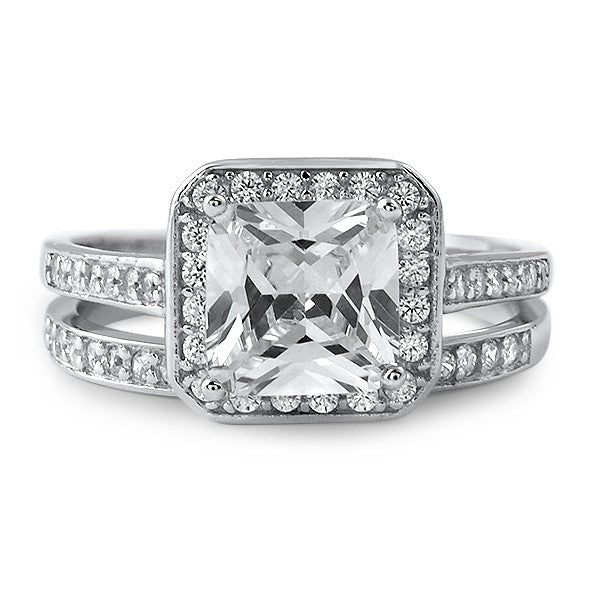 2.80 Carat Princess Cut CZ Wedding Ring Set