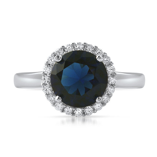 Sterling Silver Synthetic Blue Sapphire Halo Ring