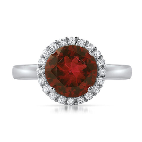 Sterling Silver Synthetic Red Ruby Halo Ring