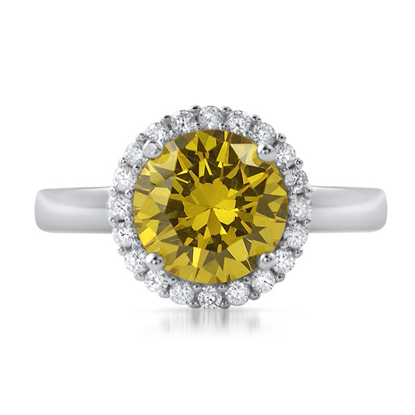 Silver 2.30 CTW Canary Yellow CZ Halo Ring