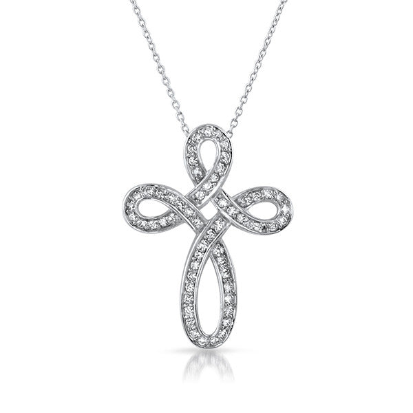 Silver CZ Elegant Cross Pendant Set