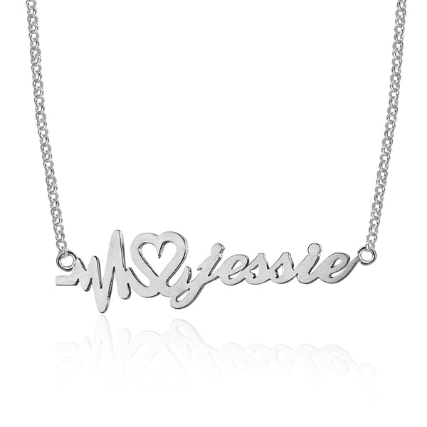 Heartbeat Personalized Name Silver Necklace
