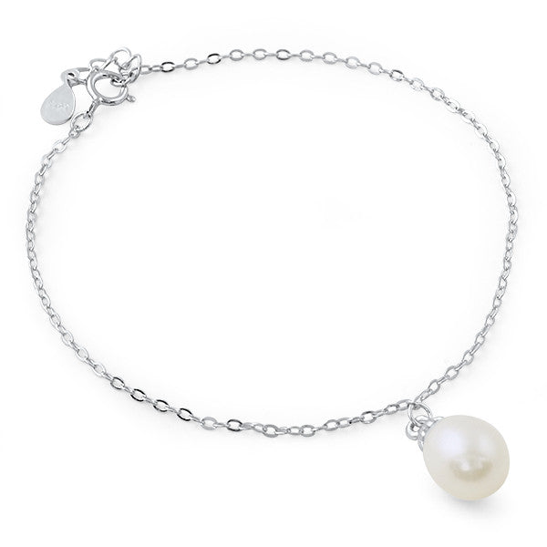 Simple Pearl Sterling Silver Minimalist Bracelet
