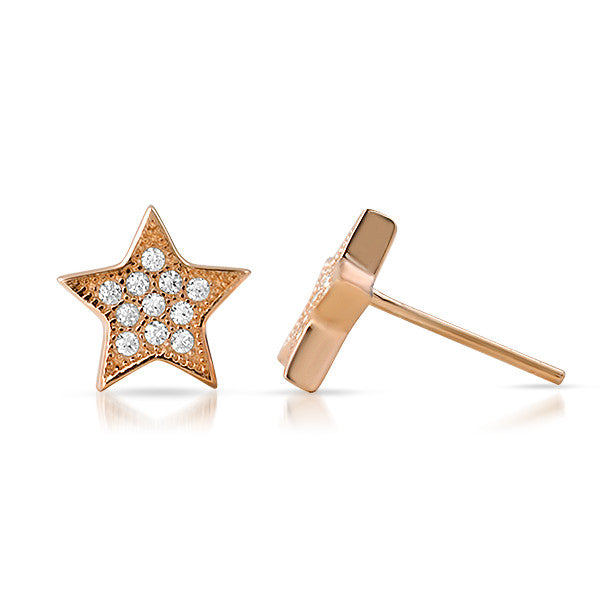 Rose Gold CZ Micropave Star Stud Earrings