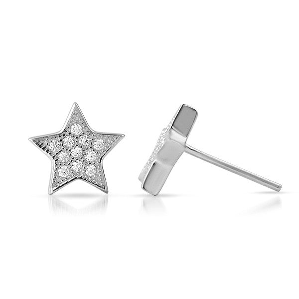 Silver CZ Micropave Star Stud Earrings