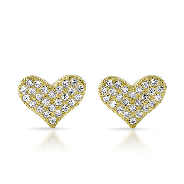 Gold CZ Micropave Heart Stud Earrings