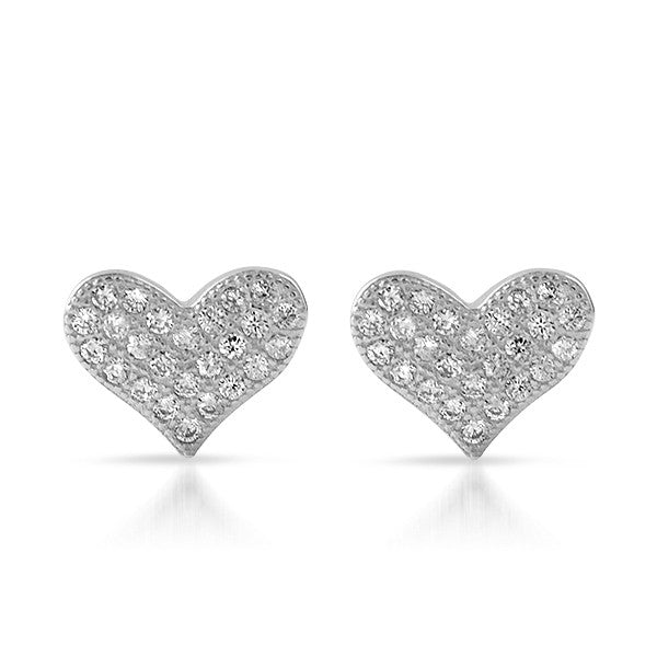 Silver CZ Micropave Heart Stud Earrings