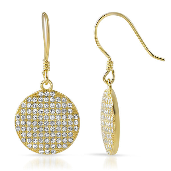 Gold CZ Micropave Round Fishhook Earrings