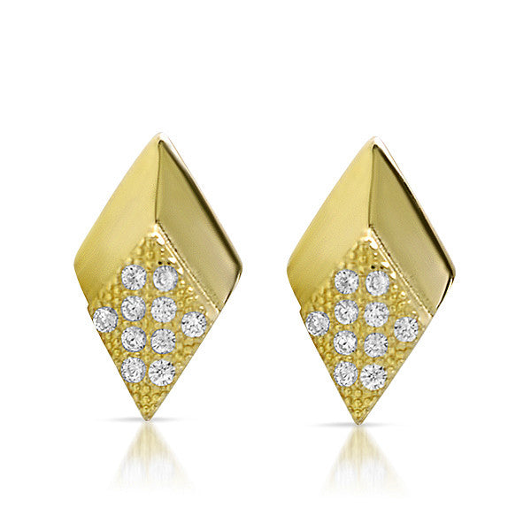 Gold CZ Micropave Arrowhead Stud Earrings