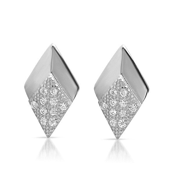 Silver CZ Micropave Arrowhead Stud Earrings