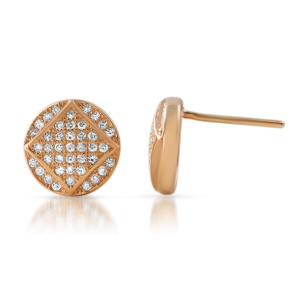 Rose Gold CZ Micropave Round Stud Earrings
