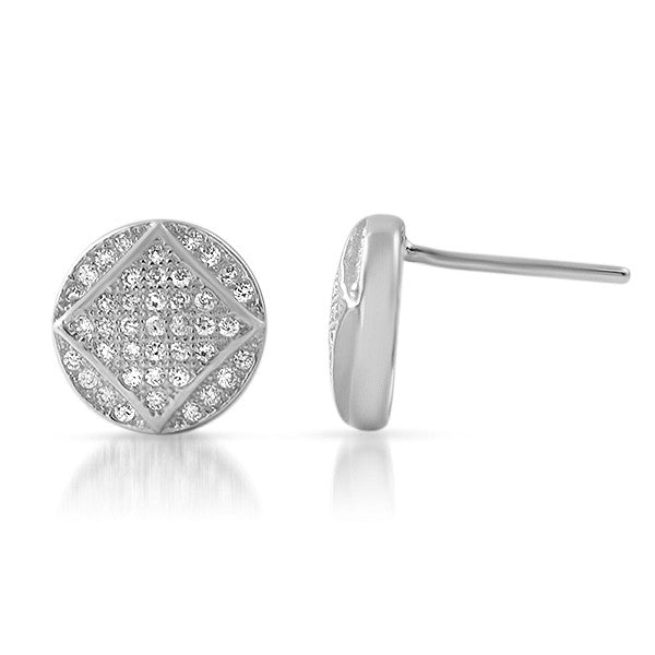 Silver CZ Micropave Round Stud Earrings