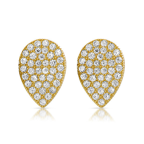 Gold CZ Micropave Teardrop Stud Earrings