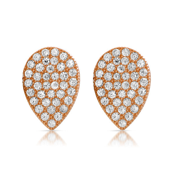 Rose Gold CZ Micropave Teardrop Stud Earrings
