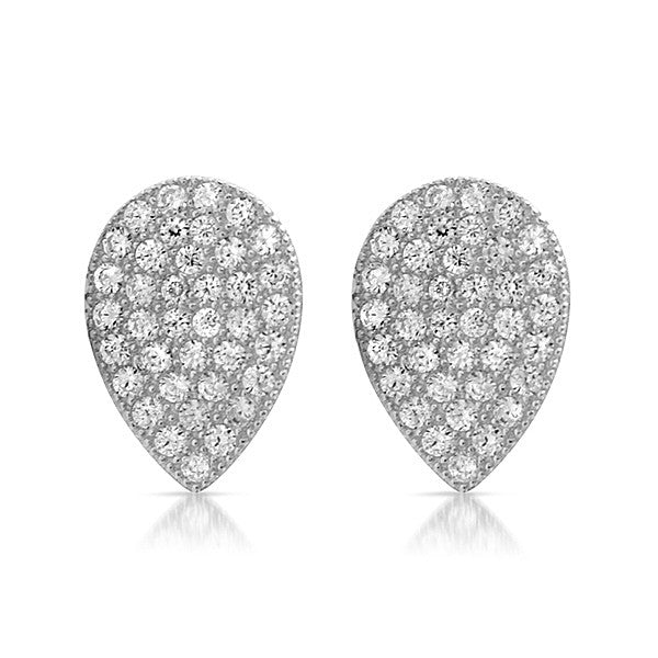 Silver CZ Micropave Teardrop Stud Earrings