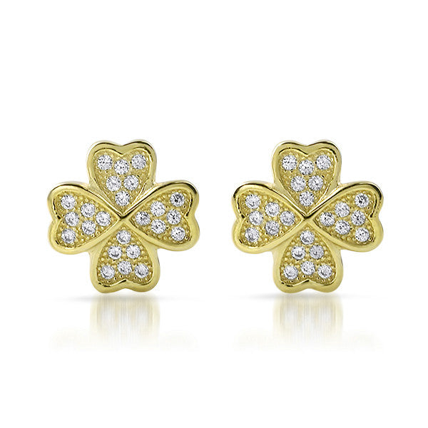 Gold CZ Micropave Clover Stud Earrings