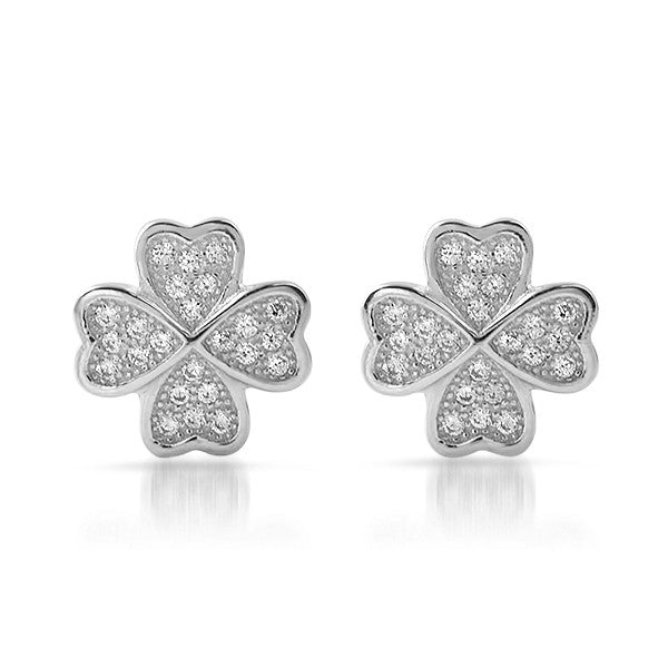 Silver CZ Micropave Clover Stud Earrings