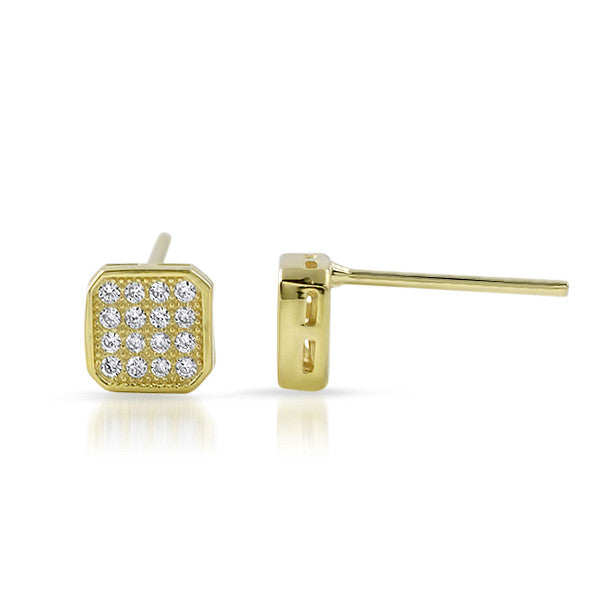 Gold CZ Micropave Cushion Stud Earrings