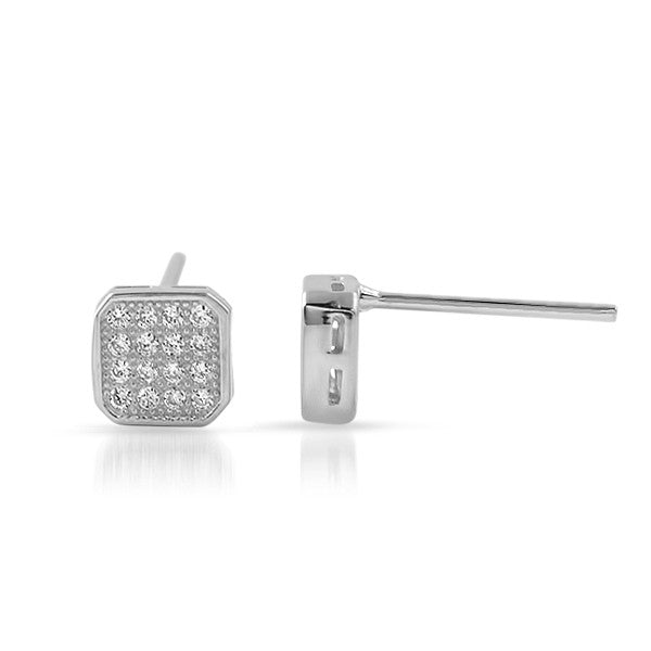 Silver CZ Micropave Cushion Stud Earrings