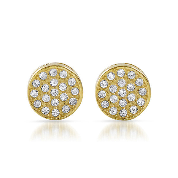 Gold CZ Micropave Circle Stud Earrings