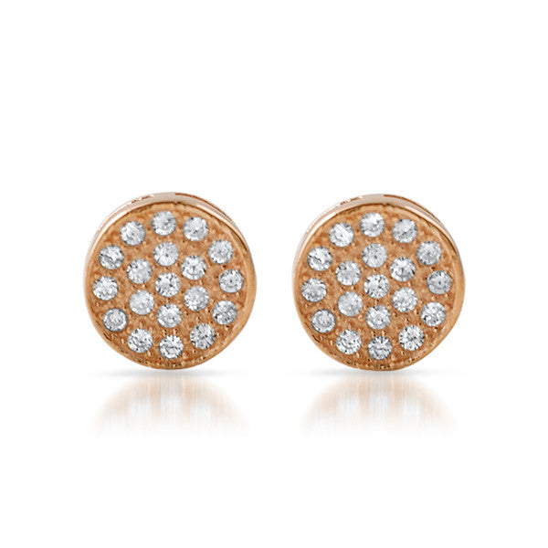 Rose Gold CZ Micropave Circle Stud Earrings