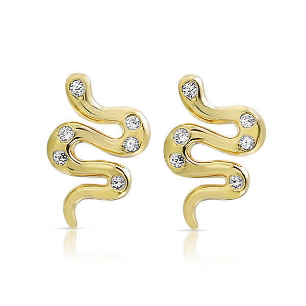 Gold CZ Small Snake Stud Earrings