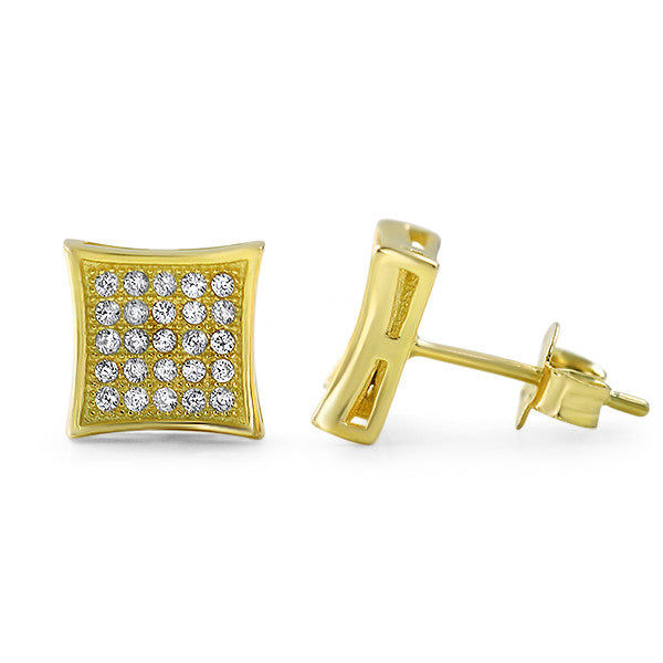 Gold CZ Micropave Kite Stud Earrings