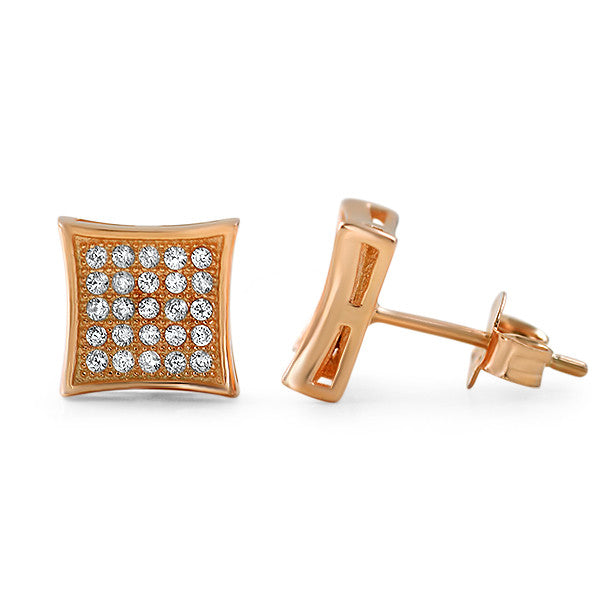 Rose Gold CZ Micropave Kite Stud Earrings