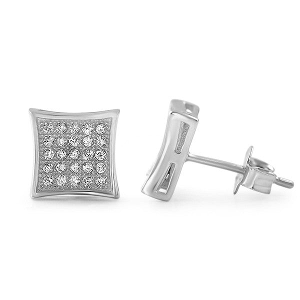 Silver CZ Micropave Kite Stud Earrings