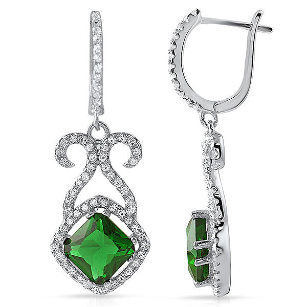 Silver Fancy Green Crystal Dangling Earrings