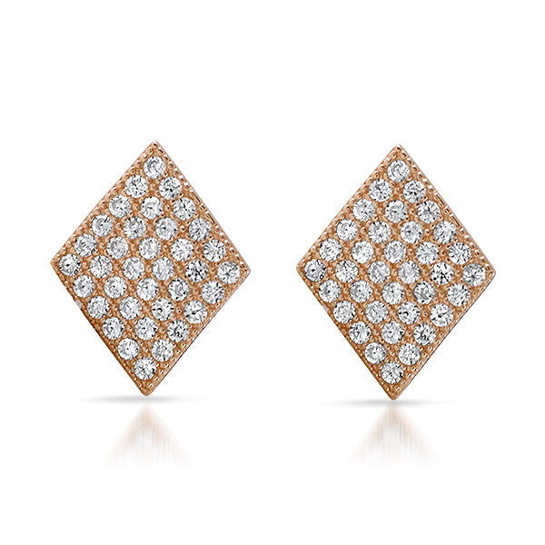 Rose Gold Micropave CZ Diamond Shape Studs
