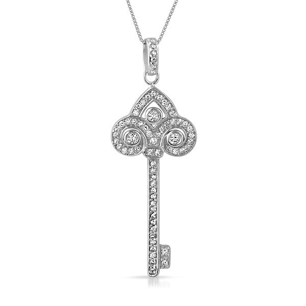 Sterling Silver Fancy Key CZ Pendant