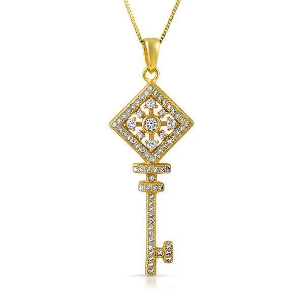 Gold Finish Cubic Zirconia Key Necklace
