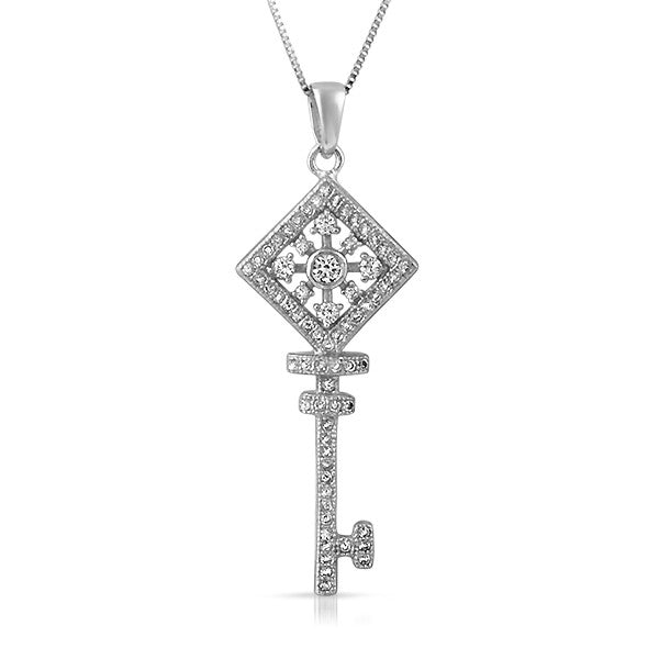 Sterling Silver Cubic Zirconia Key Necklace