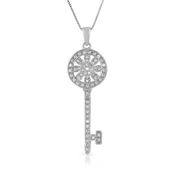 Silver cz art deco vintage key pendant jewelure silver cz art deco vintage key pendant aloadofball Image collections